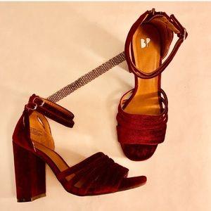 BP Velvet Burgundy Ankle Strap Heel size 7
